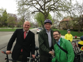 Ald. Nik Kovac, Mayor Tom Barrett, and Dave Steele.