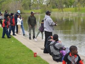 Fishing at Washington Park Pond