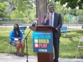 Keith P. Posley speaking at the Green Bay Playfield groundbreaking