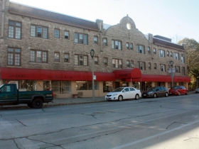 A remaining business block on E. Ogden Avenue