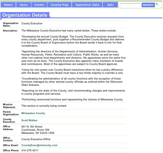 County Executive's web page as of March 16, 2005