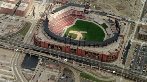 Ballpark Village will be built at the top of this image.  Despite the presence of the interstate immediately next to the stadium, Busch Stadium seems less car-orientated than Miller Park.