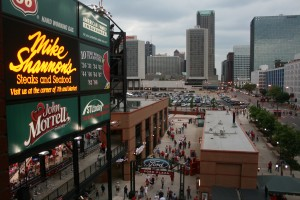 Busch Stadium has an open atmosphere that should work well with the neighborhood that develops around it.