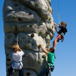 Kids on the rock wall