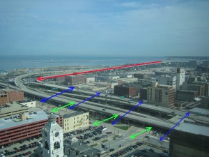 The Hoan Bridge as it comes into downtown, as seen from the Chase Tower.  The green lines indicate the massing of a new street-level boulevard, while the blue lines reflect the current space consumed by the elevated freeway.  The red line shows a reconfigured trajectory towards the ground.