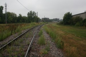 The tracks as they turn through Burr Jones Field.