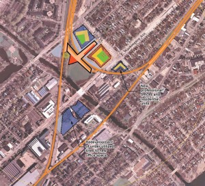 Orientation of the station as well as likely land to be developed is pictured.