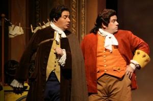 Almaviva (Gregory Schmidt) and Figaro (Andrew Wilkowske) hatch their plot. (K. Behl photo)