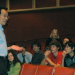 Yo-Yo Ma speaks with the cello section of the Milwaukee Youth Symphony Orchestra