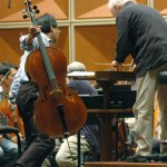 MSO Music Director Edo de Waart and Yo-Yo Ma consult on a passage in Schumann's Cello Concerto
