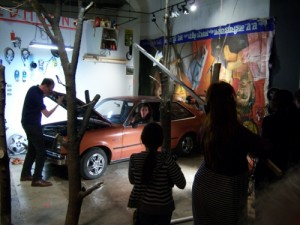 "A view of Xav Leplae's ""The Shooting of the Misanthrope"" at the opening of the Nohl Fellowship exhibition."