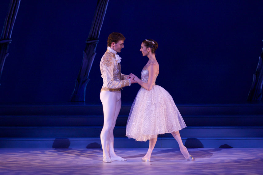 The Prince (Ryan Martin) and Cinderella (Tatiana Jouravel) get acquainted in the ballroom scene.