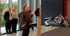 Mark Clements addressing the Rep's party at the Harley museum Monday evening.