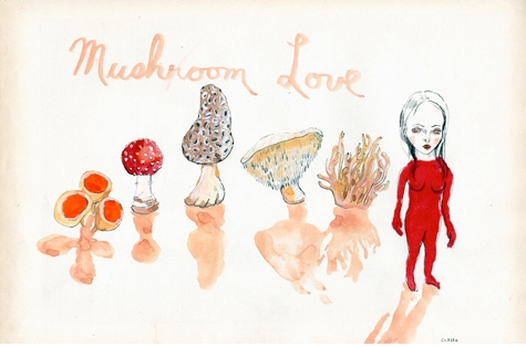 Mushroom Loves (2009), watercolor on found paper, 11 x 16
