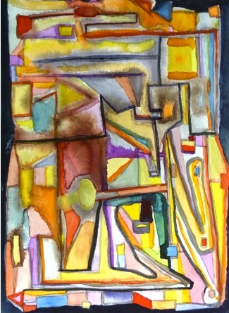 Santiago Cucullu's Trying to Remember a Picasso in the Style of Paul Klee (2009), watercolor on paper, 9 ½ x 6 ¾
