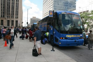 A Megabus bus loading in Chicago