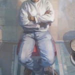 "Katie Musolff's painting is entitled, ""Chris Jackson,"" oil on canvas, 38"" x 24,"" 2009."