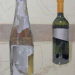 """Sara Mulloy's """"Bottles,"""" oil on canvas, 8"""" x 11,"""" 2006."""