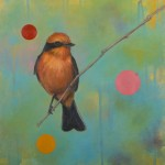 "Bridgett Griffith Evans' Vermillion Flycatcher, acrylic on canvas, 12"" x 12,"" 2009."
