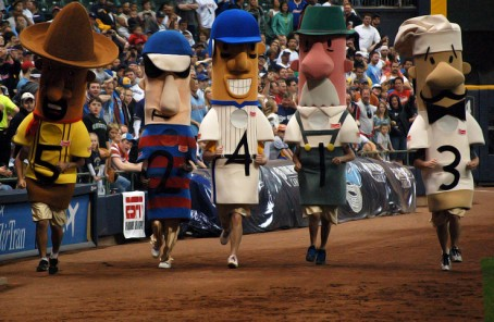 The racing sausages display one of many numbers lower than the Brewers team ERA (photo by Brian Jacobson)
