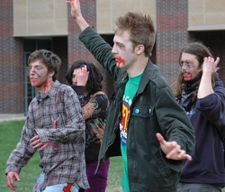 The Zombie protest consisted of dancing and smokes.