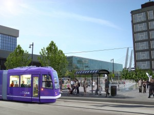 The streetcar near the Milwaukee Intermodal Station.