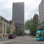 A rendering of the streetcar at the intersection of Van Buren and Wells in downtown Milwaukee.
