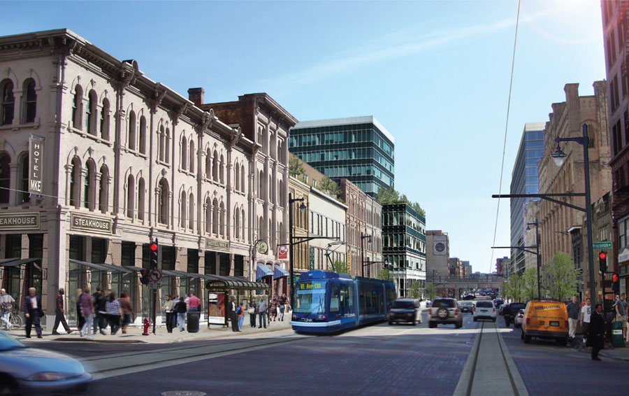 A rendering of the streetcar coming up Broadway.