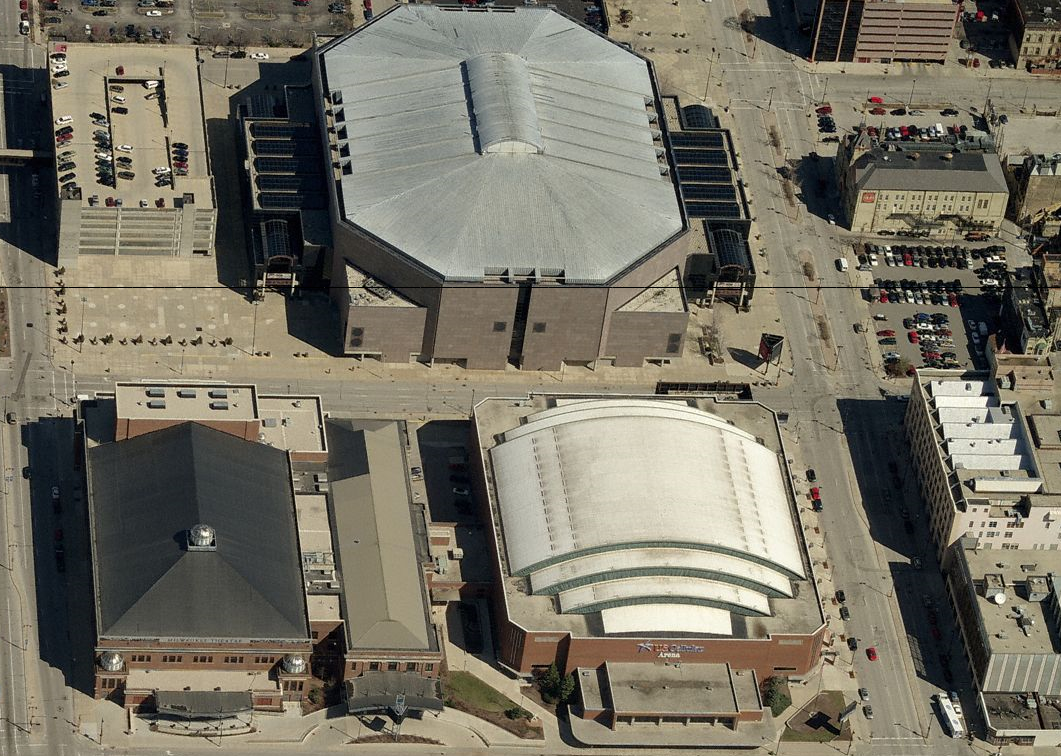 The BMO Harris Bradley Center, Milwaukee Theater and UW-Milwaukee Panther Arena.