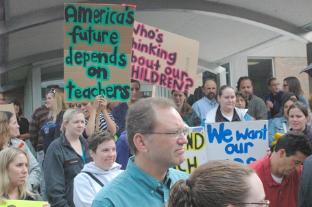 Teachers, students and parents rally in support of teachers. Photo taken in 2010 by Patti Wenzel.