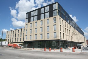 The view from across North Avenue of the soon-to-be complete residence hall.