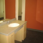 A look at the sink in the standard suite restroom. A cut-above the standard institutional feel for student housing.