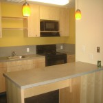 The larger suite option includes a full kitchen.