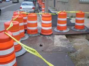 Preliminary construction work for the S. 2nd Street project.