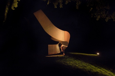"Monica Rodero, Clement Meadmore's ""Upstart."" Photo by Tom Bamberger."