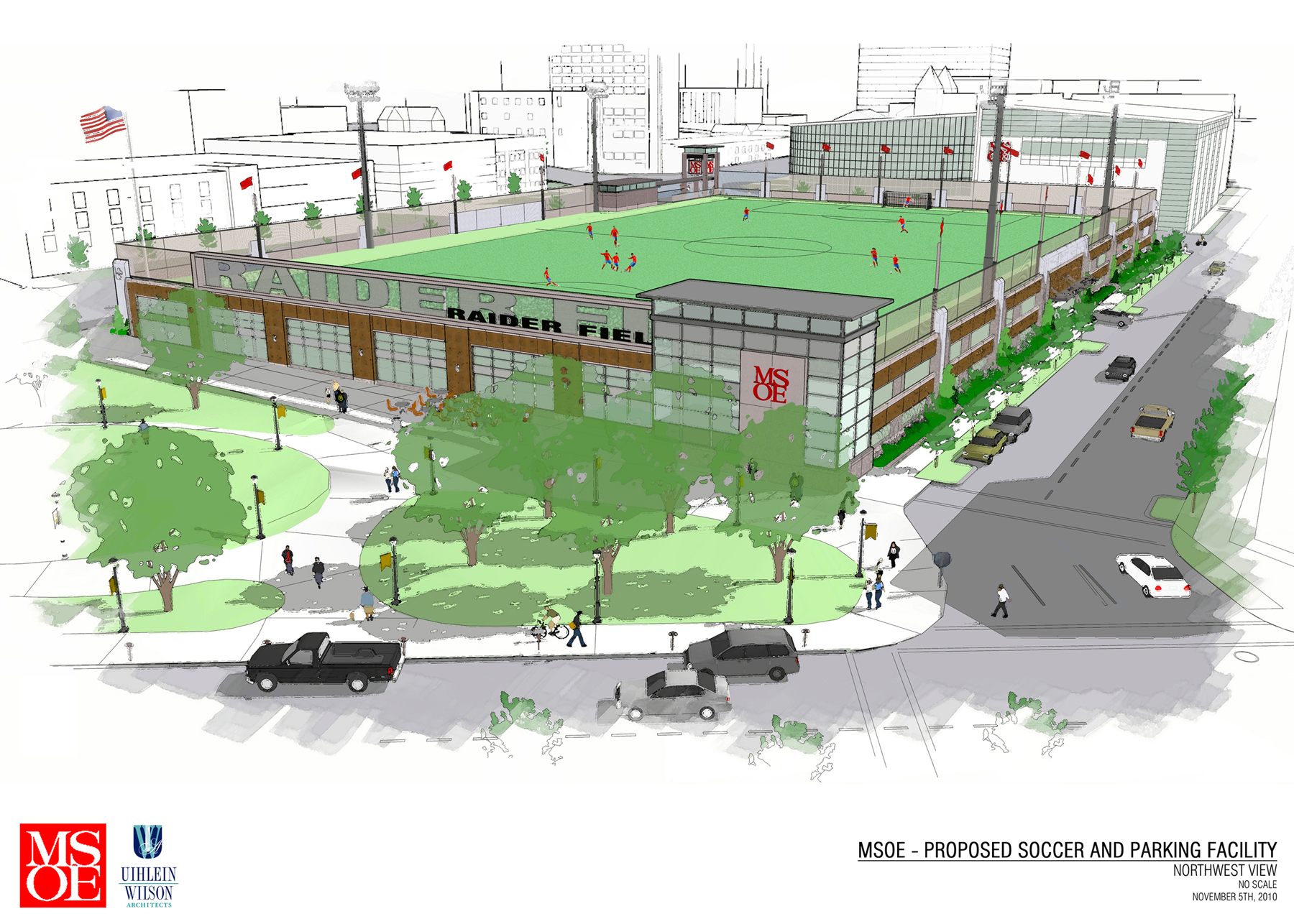 MSOE Proposes Parking Garage with Athletic Field in the Park East (Renderings)