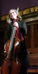 Christine Gummere, cellist with Sinfonia New York