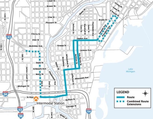 Milwaukee Streetcar Route