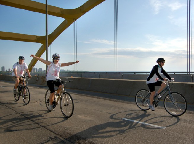 Riding Over the Hoan Looks Tough - Photo by Brian Jacobson, courtesy of Third Coast Digest