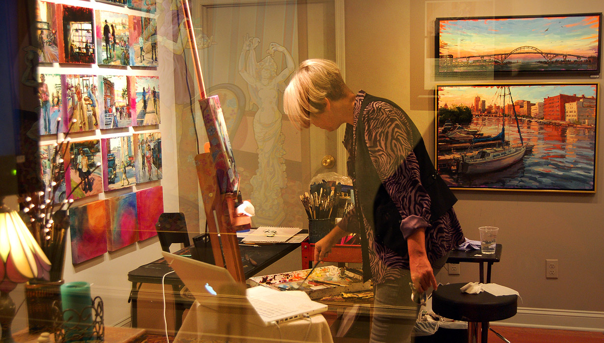 Shelby Keefe at work in her Pfister Hotel artist's studio on Oct. 14th, 2011. Photos by Brian Jacobson.