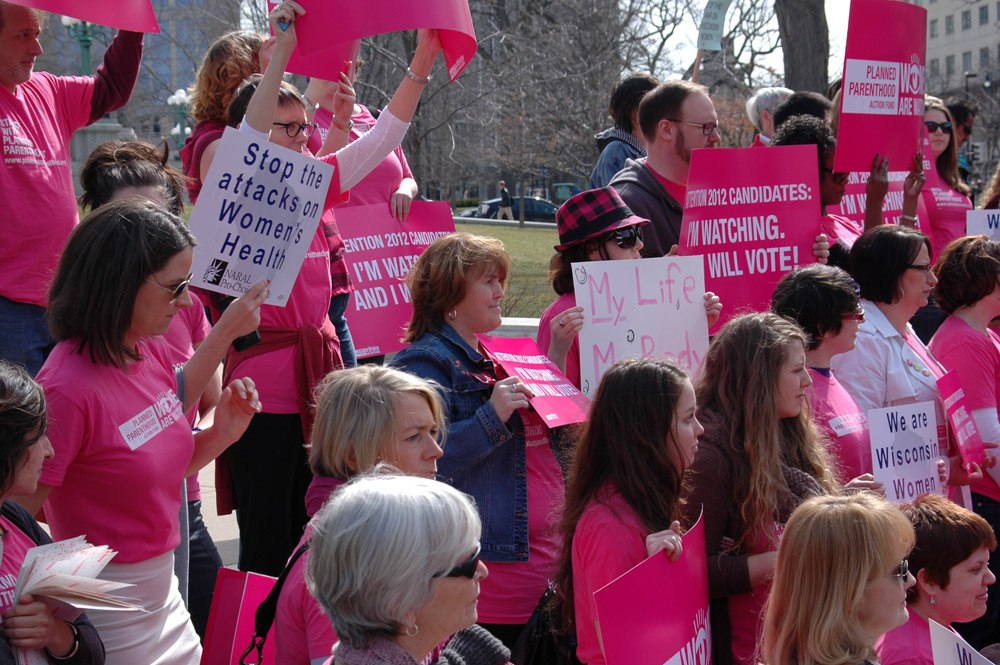 A rally in support of Planned Parenthood in 2012.