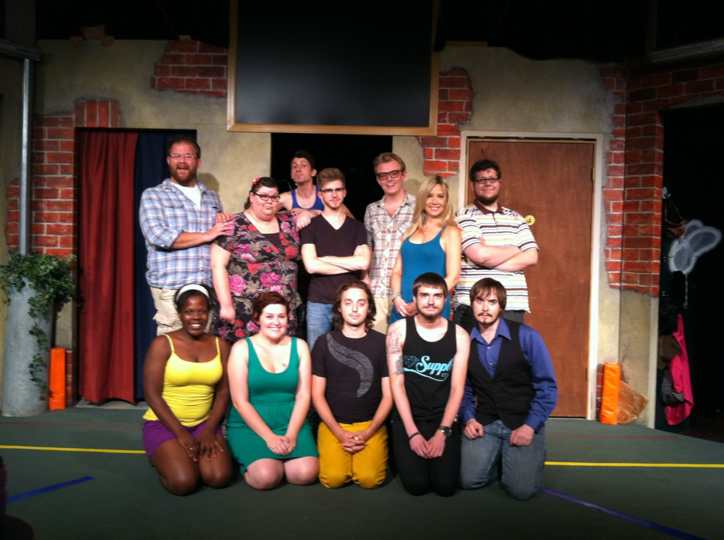 TIM's actors and musicians: bottom row (left to right): Mara McGhee, Mary Kelly, Patricio Amerena, Nevin Langhus , Mike Kellar  top row: Robby McGhee, Mary Baird, Jordan Gwiazdowski, Jacob Bach, Matt Bozora , Colleen Schmitt, Steve Baird