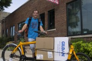 Stephen and the Bullitt from Breakaway delivering 300 new Forward Wisconsin shirts to the Bike Fed office at 3618 W.Pierce St.
