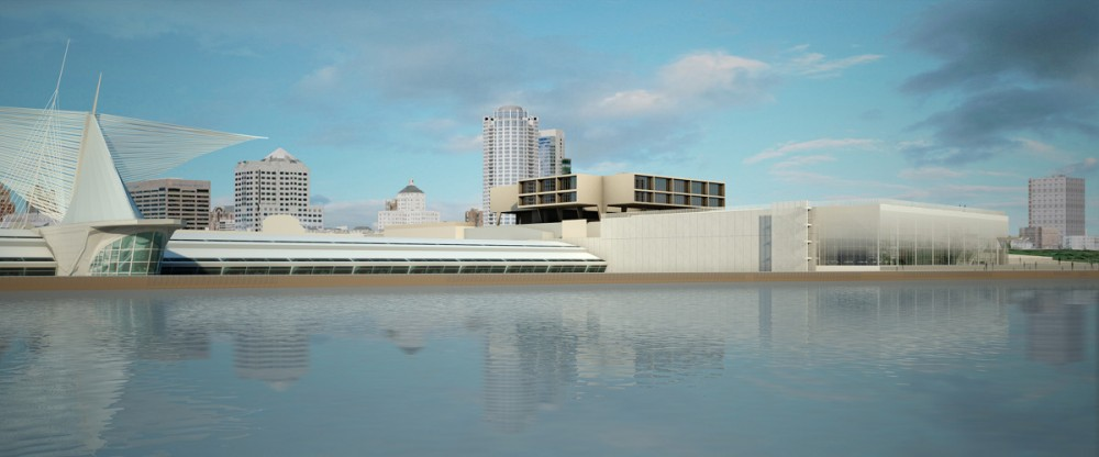 View of the Art Museum/War Memorial complex, including a planned eastward expansion of the Kahler addition. Courtesy of the Milwaukee Art Museum.