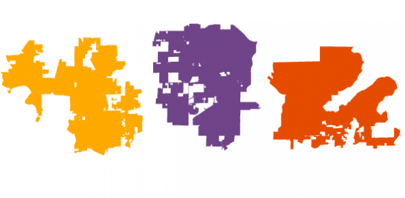 Rococo, 2011. Three Madison-area Assembly districts, as redrawn by Republicans in 2011's Act 43. Graphic: Kate Golden