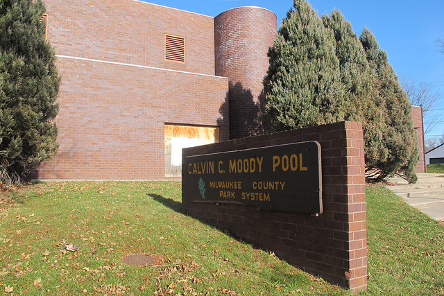 Moody Pool, 2200 W. Burleigh St., has been boarded up since 2002. (Photo by Edgar Mendez)