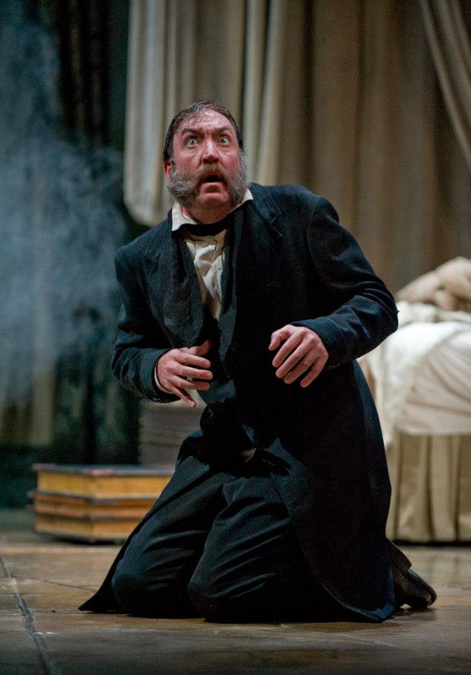 Christopher Donahue makes his Rep debut as Ebenezer Scrooge. Photo by Michael Brosilow.