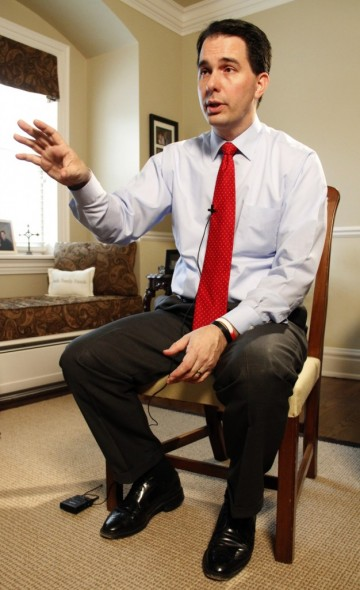 Wisconsin Gov. Scott Walker in a Dec. 19, 2012, interview at the governor's mansion. Kate Golden/Wisconsin Center for Investigative Journalism