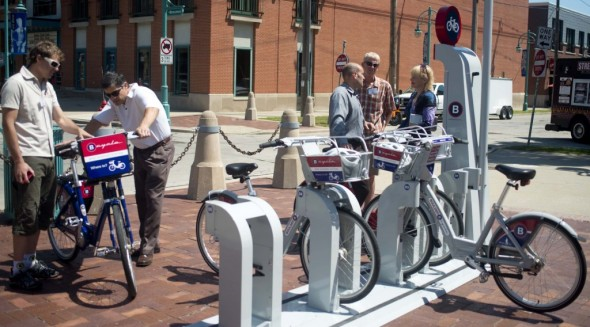 The kiosks are solar powered and wireless, so they can be set up quickly at any location. This one was part of the B-cycle demonstration project in Milwaukee organized by Midwest Bikeshare last summer.
