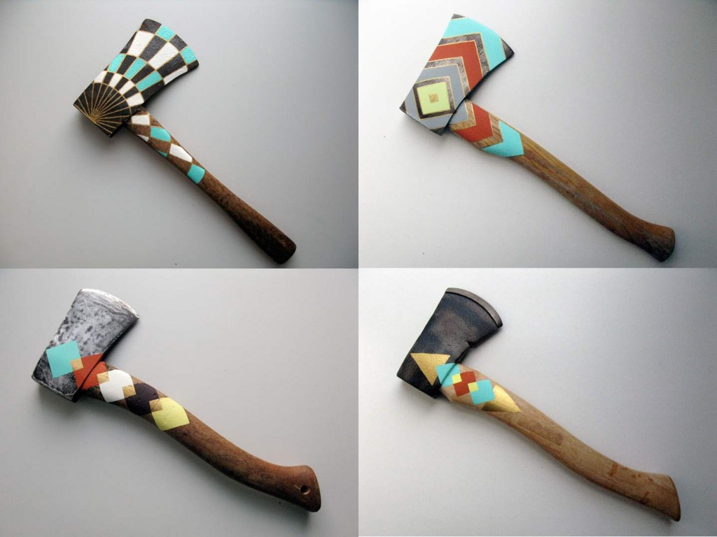 "Cassandra Smith's ""Hatchets,"" hand-painted by the artist, are significant examples of her work. Photo courtesy Sky High"